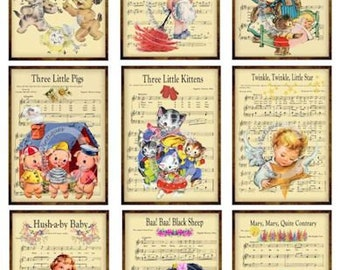 Digital COLLAGE Sheet 9 Vintage Grunge Nursery Rhymes / Lullabies Music Sheet ATC ACEO / Retro Children Tags Images—Printable Ephemera