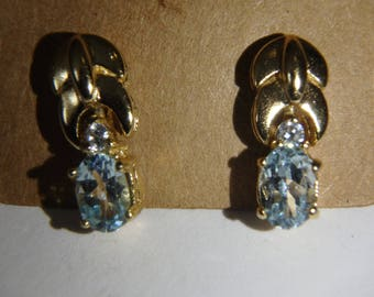 sterling silver gold overlay aquamarine & cz  drop earrings