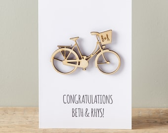 Couples Bicycle Keepsake Card - Wedding card - Engagement Card - Personalised Card