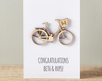 Couples Bicycle Keepsake Card - Wedding card - Engagement Card - Personalised Card