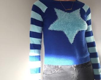 blue fuzzy star sweater
