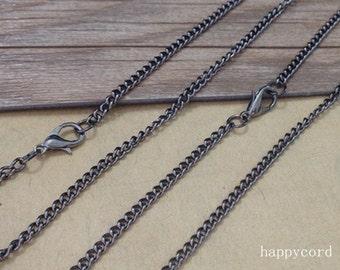 10pcs 70cm gunmetal color necklace pendant chain 2mmx3mm