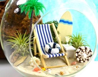 """Beach Terrarium Kit ~ 7"""" Air Plant Terrarium Kit ~ Coastal Living Beach House Decor ~ Surfboard Choice ~ Beach Chair ~ Surfer Beach Gift"""