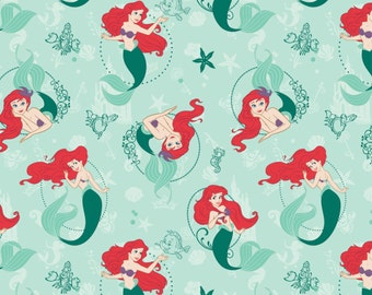 FREE SHIPPING - Disney The Little Mermaid Ariel fabric - green - Camelot - by the YARD