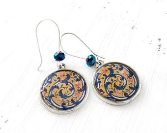 HEDIEH Earrings - Persian jewelry - Persian tile design Earrings - Oriental - Maze
