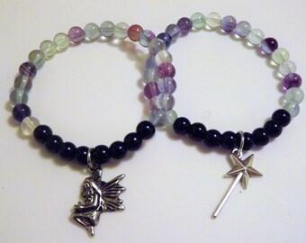 Multi-Color and Dark Blue Beaded, Gem Stone, Yoga Bracelet