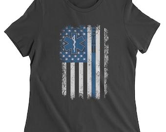 EMT Emergency Medical Technician With Flag Womens T-shirt