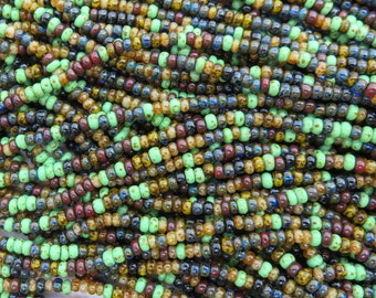Aged Picasso Beads, Size 8/0 Seed Bead Mix, 2 Strands - Item 3250