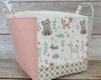 Fabric Organizer Bin Toy Storage Container Basket - Woodland Baby Animals - Bear Deer Fox - 8 in x 8 in x 8 in