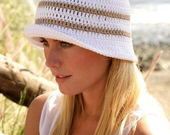 Bucket hat Summer outdoors White Sun hat Women hat Brim hat Floppy hat Cotton hat Summer hat Beach hat Hemp hat Spring Straw hat Chemo hat