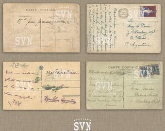 Vintage French Postals - Carte Postale - Ephemera - scrapbooking - 4 different designs