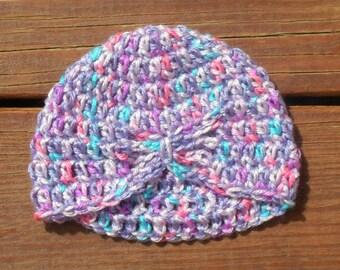 Baby Butterfly Hat, Baby Girl Hat, Purple Crochet, Pink Hat, Flapper Hat, Infant Girl Hat, Cute Photo Prop, Photography Prop, Newborn Girl