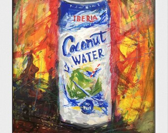 Coconut Water...  Decorative, Art, Beverage, Acrylic, SketchyArt, kitchen Art, Still Life