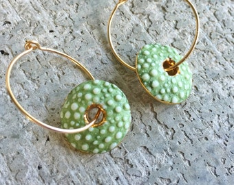 Porcelain Sea Urchin Earrings in Gold with Green