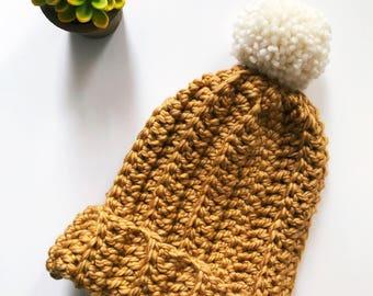 Mustard Hat Women, Chunky Hat, Mens Hat, Chunky Slouchy Pom Beanie, Womens Hat, Crochet Beanie, Pom Pom, Winter Hat