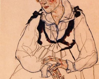 "Schiele Egon, 54, Lithograph, ""The artist wife seated"" printed 1968"