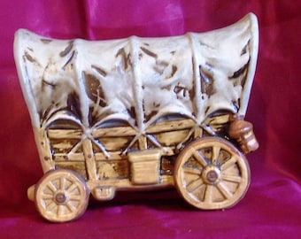 Covered Wagon Ceramic Bank hand painted