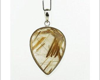 EP010301) Gold Rutilated Quartz Pendant, 925 Silver, Pear Shape