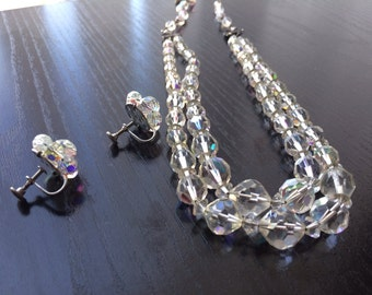Stunning Mid-Century Aurora Borealis Crystal Necklace and Earring Set