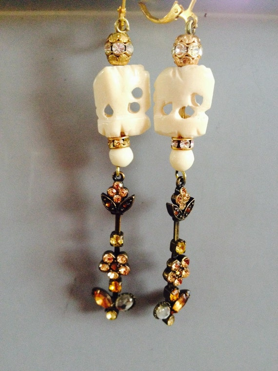 """Dangle Earrings """"Lucky elephant """" vintage assemblage Repurposed, variations, Art Deco, one of a kind, hand made, amethyst, bronze, pearl"""