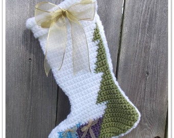 Crocheted Christmas Tree Stocking Pattern ... Instant Download