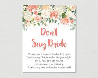 Floral Don't Say Bride Game / Floral Bridal Shower / Watercolor Floral / Peach Floral / Bridal Shower Game / Printable INSTANT DOWNLOAD B102