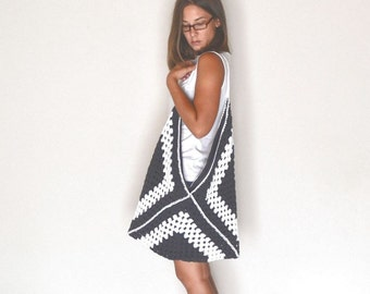 Granny Square Bag 40% OFF Extra Large Crochet Market Beach Tote White Charcoal Gray