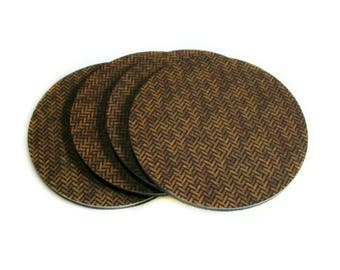 Rustic Coasters Set - Brown Wicker Drink Coasters - Rustic Coffee Table Decor - Rustic Home Decor - Housewarming Gifts - Gifts for Men