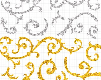 Gold and Silver Glitter Clipart Filigree Swirl Commercial Use Digital Download
