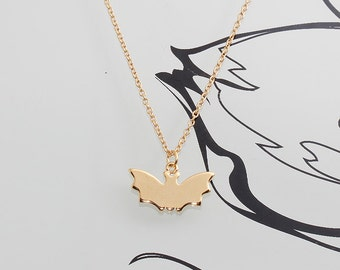 Gold Plated, Simple Bat Silhouette Charm, Necklace