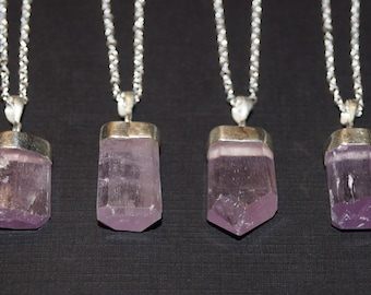 Kunzite Necklace, Pink Kunzite Pendant, Sterling Silver Necklace