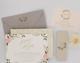 Wedding Invitations, Garden Wedding Invitations, Urban Chic, Sweet, Romantic, Floral, Calligraphy - Spring Garden Wedding Invitation Deposit