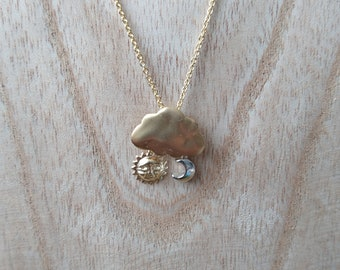 Autumn cloud, Sun gold and silver necklace