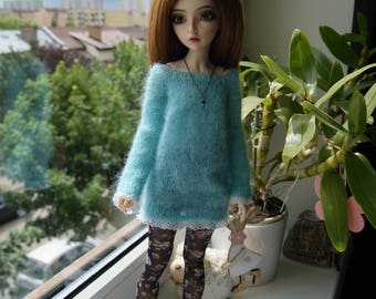 Knitted dress for MSD bjd doll.