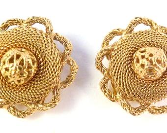 Vintage Etruscan Earrings, Raised Gold Mesh Earrings,  Clip On Earrings.