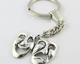 Theatrical Masks Drama Theatre Lovers Keychain Keyring 93mm