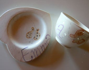 Children's dishes Heart plate 2 pieces-handpainted