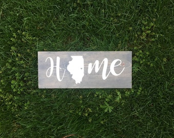 Custom State Home Sign | Wood Sign | Personalized | State with Heart | State Sign