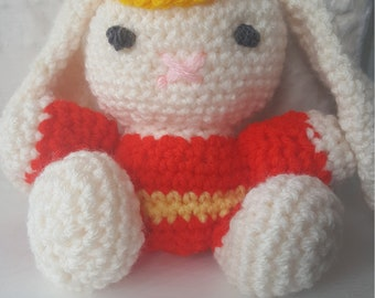 Bunny rabbit hand crocheted with yellow cap