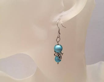 These 2 beaded blue satin wing earrings