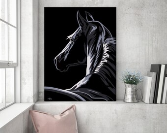Gift for horse lover, horse, horse painting, horse art, horse canvas, horse gift, horse decor, pop art painting, large horse canvas, large