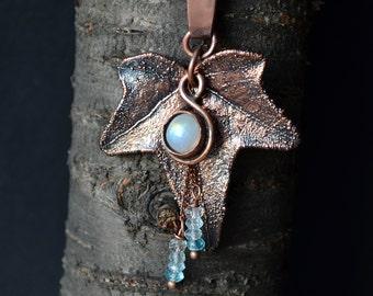 Electroformed real ivy leaf, ivy leaf pendant, moonstone, elven jewelry, electroformed jewelry, electroform, elven pendant, lotr jewelry
