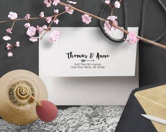 Return Address Stamp - Wedding Custom Address Stamp, Calligraphy Informal Handwriting Stamper, Wood or Self Inking, Arrow, Casual Invitation