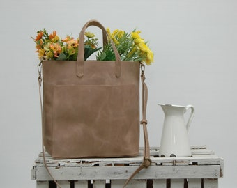 Leather tote bag, medium size ,taupe disstresed  color