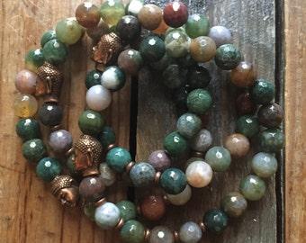 Indian Agate + Buddha | Spiritual Junkies | Yoga + Meditation | Stackable Mala Bracelet