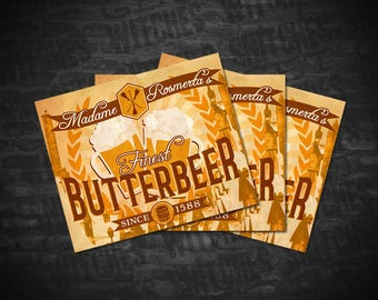 """Butterbeer Printable Labels, Avery 22827 Template, 4.75"""" x 3.5"""" Butterbeer Printable Labels, Birthday Party Printables, Instant Download"""
