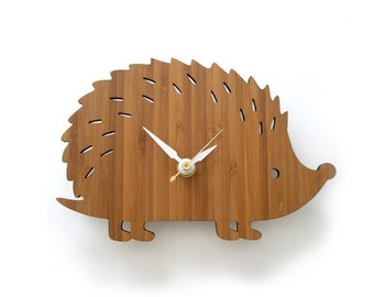 Wooden Hedgehog Clock, Modern Baby Wall Clock