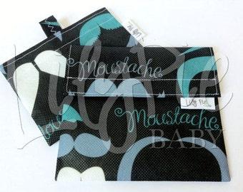 Reusable Sandwich Bag & Reusable Snack Bag Set in MUSTACHES print - ECOfriendly - Food Safe - Dishwasher Safe - Back to School