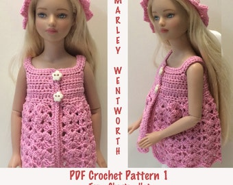 """Instant Download - PDF Crochet Pattern 1 - 12"""" Marley Wentworth - Top, Shorts and Hat"""