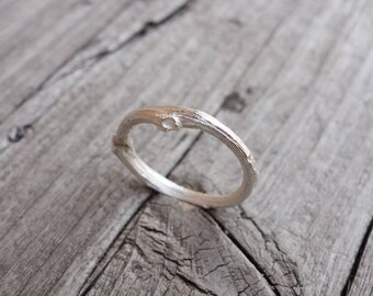 slim silver twig ring. recycled silver. sustainable.
